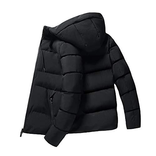 ダウンジャケット フード付き メンズ冬服 黒 L