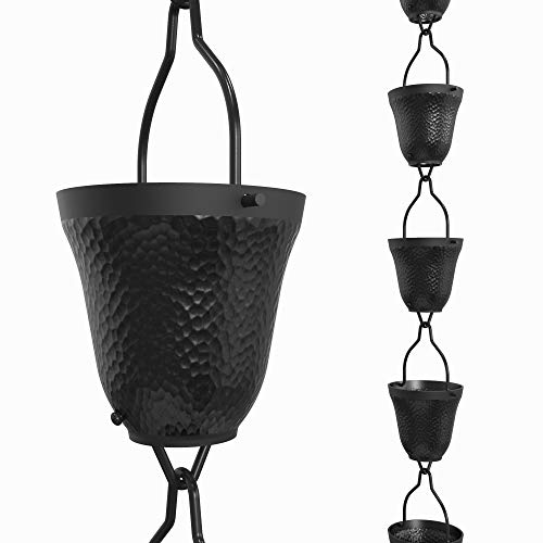 Rain Chains Direct Contempo Rain Chain, 8.5 Feet Length, Aluminum, Black Powder Coated, Functional and Decorative Replacement for Gutter Downspouts