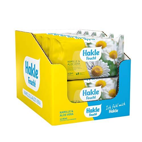 Hakle Feucht Kamille und Aloe Vera im 12er-Pack (12 x 42 Blatt), pflegendes feuchtes Toilettenpapier, hautverträgliche feuchte Tücher, schnell wasserlösliche Feuchttücher