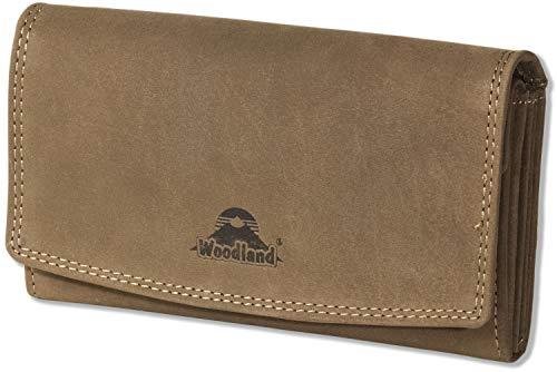 Woodland - Grande lusso portafoglio in pelle signore in naturale, pelle di bufalo morbida marrone scuro/Taupe