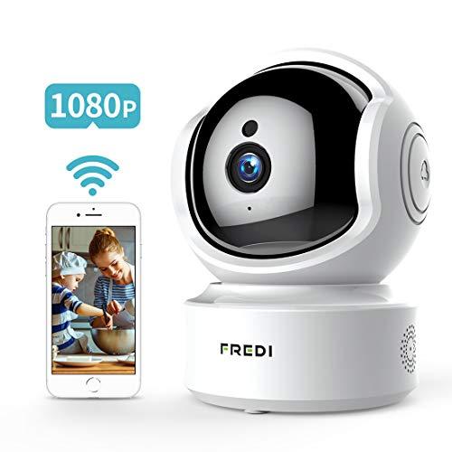 FREDI 1080P HD Telecamera Sorveglianza Wi fi Videocamera sorveglianza Wireless Wifi IP Camera Telecamera wi-fi Interno senza fill Audio Bi-Direzionale Baby Crying Detection Cam Videosorveglianza