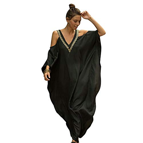 Funsraying Summer Women' European and American V-Neck Phnom Penh Strapless Loose Bikini Sunscreen Cover up Beach Vacation Bat Sleeve Dress