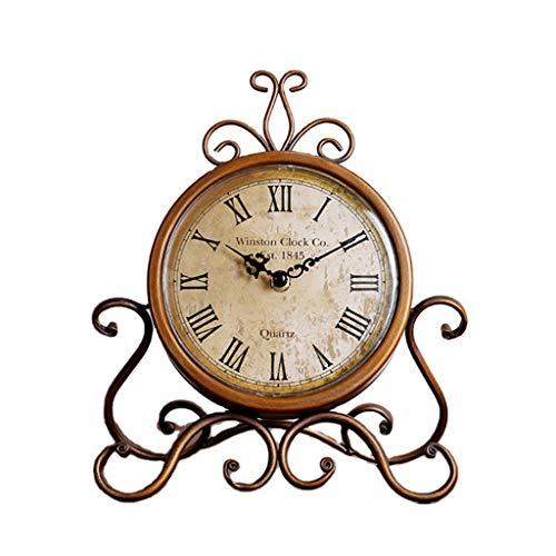zhiwenCZW Reloj de mesa silencioso, funciona con pilas, retro, de hierro, para dormitorio, sala de estar, decoración de oficina
