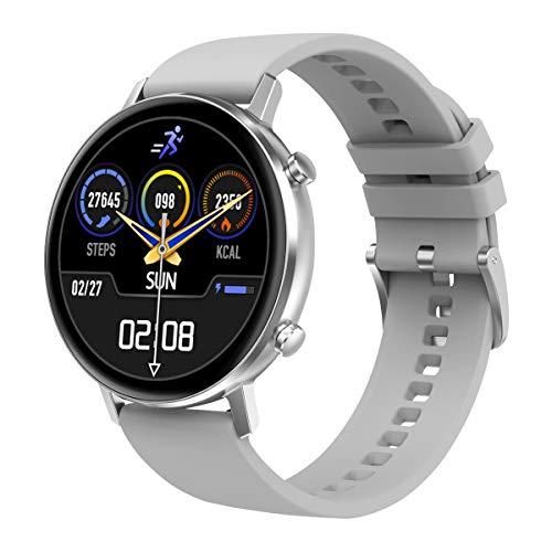 Padgene Mode Smartwatch Herren Damen, wasserdichte Smartwatch Sportuhr Fitness Tracker Armband Uhr mit SMS Anrufbenachrichtigung Herzfrequenz Schlafmonitor Kompatibel für IOS Android (Silikon Silber)
