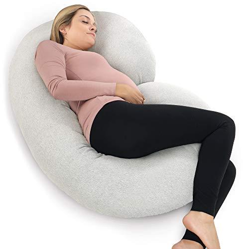 PharMeDoc Almohada de embarazo con funda de jersey, almohada de cuerpo completo en forma de C (gris claro)
