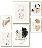 MUUDLY Premium Poster Set, Modern Wandbilder para salón y dormitorio, 2 x A3 & 4 x A4, imágenes como Wanddeko (Abstrakt Line Art Beige, sin marco)