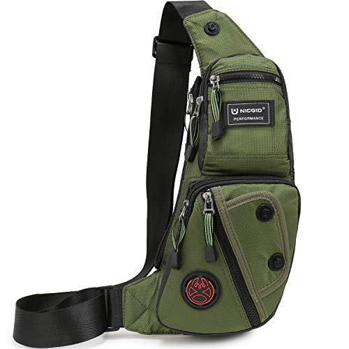 Nicgid Sling Bag Chest Shoulder Backpack Fanny Pack Crossbody Bags for MenArmy green