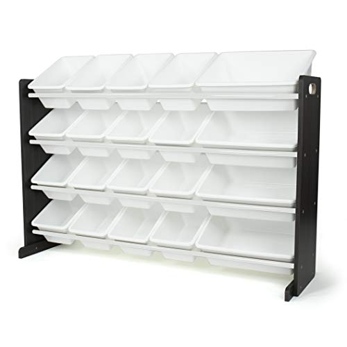 Humble Crew Toy Storage 20-Bin Organizer, Espresso/White