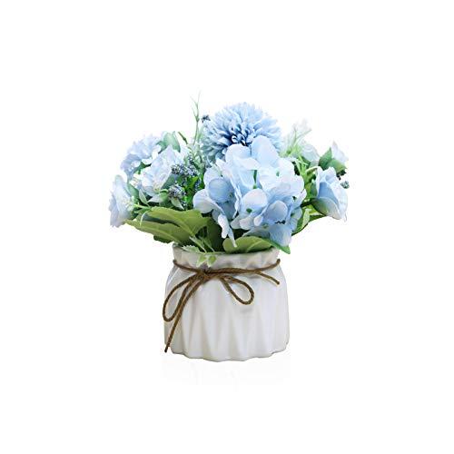 Barakara Flores Artificiales con Jarrón Decoración de Ramo Hortensia de Seda Arreglo Floral Centros de Mesa de Flores para Mesa Decoraciones Florales para Partido,Oficina,Boda-Azul