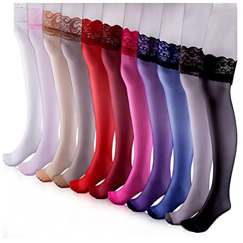 Duufin 11 Pares Medias Altos con Encaje Medias Muslo para Mujer, 11 Colores (Ropa)