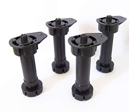 Set 4 patas + base para mueble de cocina - altura 130-180 mm. (1 paquete - 4 unidades)