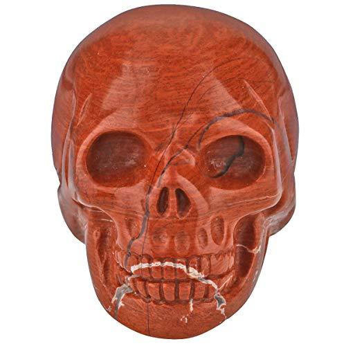 TUMBEELLUWA Carved Skull Healing Stone Crystal Quartz Figurine Energy Statue Reiki Home Decoration 1.5',Red Jasper