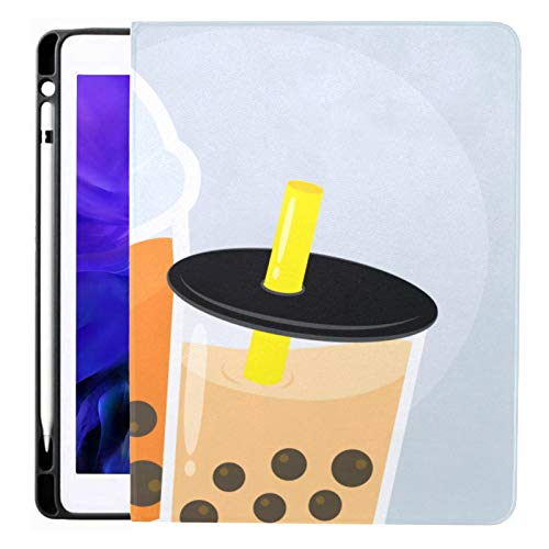 Case For Ipad Pro 12.9 Inch (2020/2018 Release) with Pencil Holder, Full-body Trifold Stand Protective Case Smart Cover With Auto Sleep/wake, Couple Bubble Boba Pearl Milk Tea
