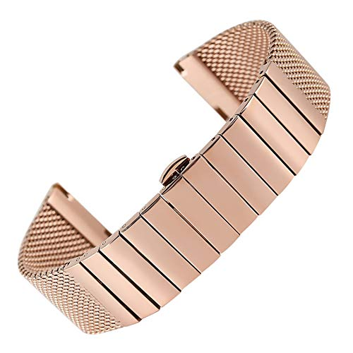 RHBLHQ 18/20/22/24 mm Acero Inoxidable Pulido Correa de Reloj de Malla de Acero Banda for Mujeres de los Hombres Reloj de Pulsera (Color : Rose Gold, Size : 24mm)