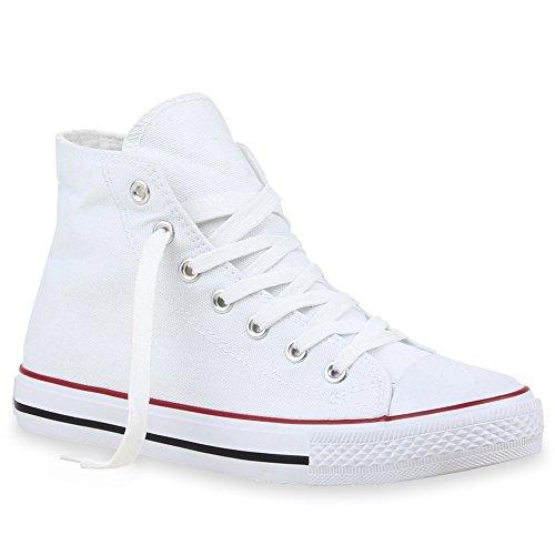 stiefelparadies Damen Schuhe High Top Sneakers Sportschuhe Schnürer Kult 101625 Weiss Rot 40 Flandell