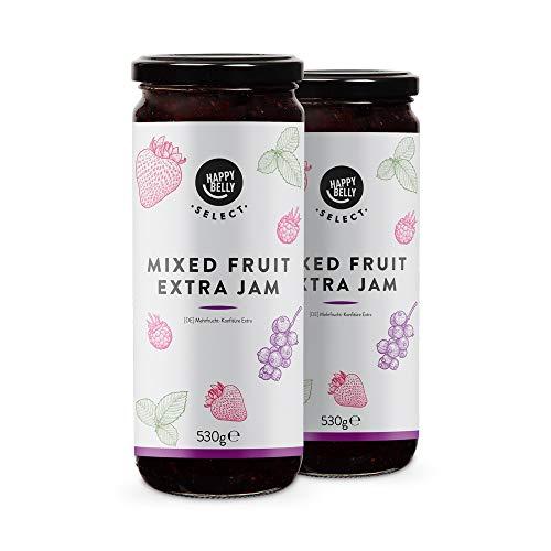 Marca Amazon - Happy Belly Select Mermelada extra con 75% de mezcla de frutas, 2 unidades de 530g