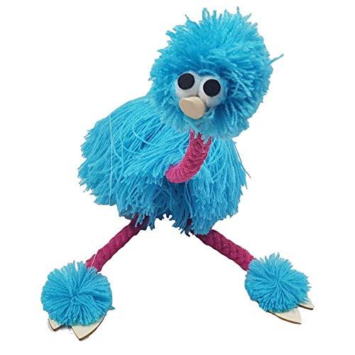 Dengofng Niños Marioneta 2pcs Festival Avestruz Forma Animal Hildren Juguetes Rafts Tradicional Muppets Regalos PE Ontrol Muñeca Hecho a Mano de Madera Cachorro Educativo (Azul) - Azul, Free Size