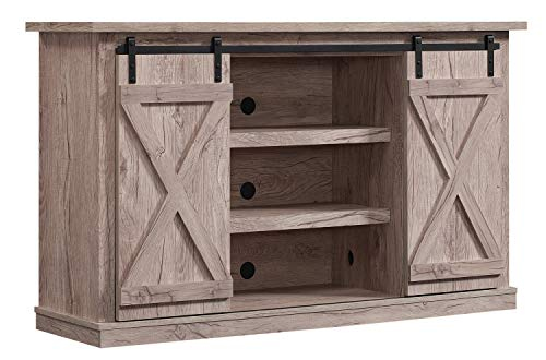 Simple Living Products Industrial TV Stand with Fireplace - Antique Rustic Look...