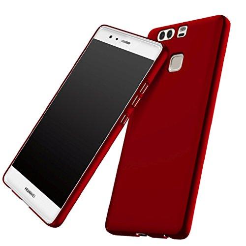 Apanphy Huawei P9 Coque, [Haute Qualité] [Ultra Slim] [Dur Soyeux] [Scrub Shell] [Protection Totale] [Contre Peau] Coque pour Huawei P9, Rouge