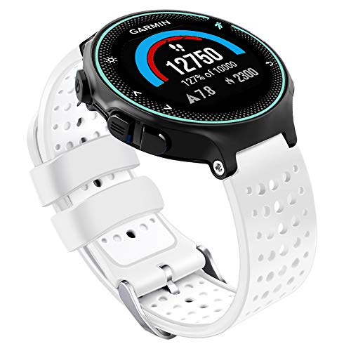 Oenfoto Compatible Garmin Forerunner 235 Watch Band, Soft Silicone Bracelet Sport Wristband Strap Replacement Watch Band for Garmin Forerunner 235/220/230/620/630/735XT-White/White