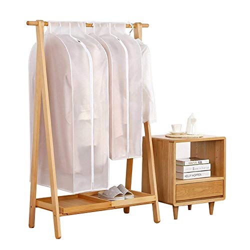 KONKY Wasserdicht Kleidersäcke Kleiderschutzhülle, PEVA Atmungsaktiv Kleider Schutzhülle Transparent Staubschutz mit Reißverschluss für Anzug Mantel Kleid Jacke, Size L (30 * 120 * 60 cm)