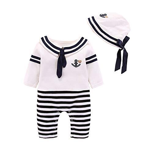 ALLAIBB Bebé Disfraz de Marinero Azul Marino Romper Corbata de moño a Rayas Onesies Gorra 3-9M Size 3M (Negro)
