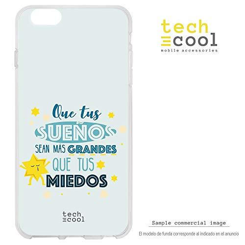 Funnytech Funda Silicona para Samsung Galaxy S6 Edge [Gel Silicona Flexible, Diseño Exclusivo] Frase Motivación Sueños Fondo Azul