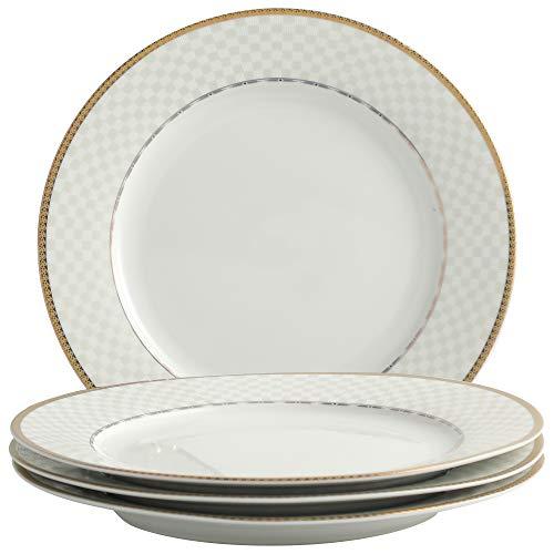 ADDTREE Juego de 4 platos redondos de porcelana blanca de 26,5 cm