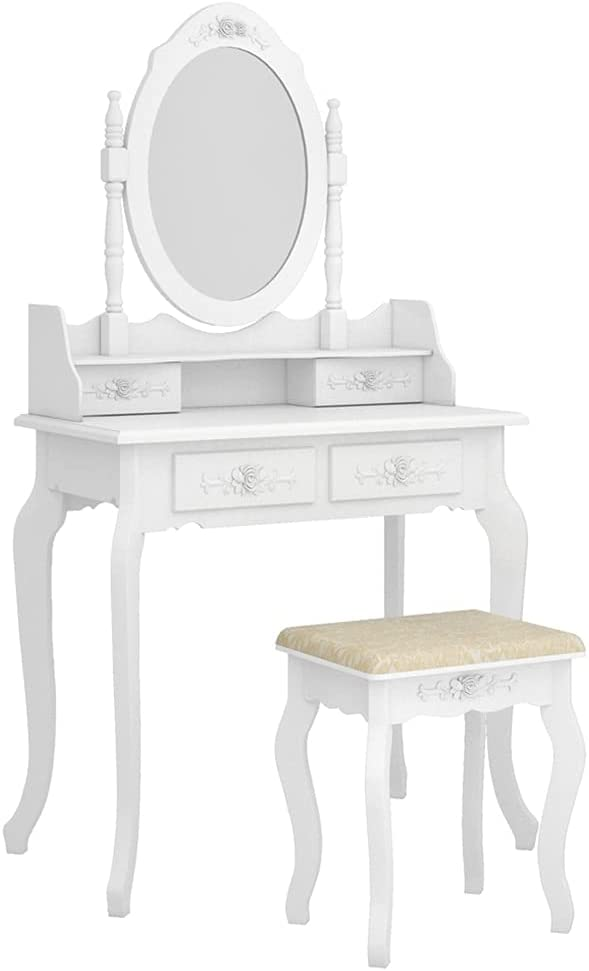 ZUQIEE Classic Modern 4-Drawer 360-Degree Mirror Ranking TOP1 Rotation Removable Dres