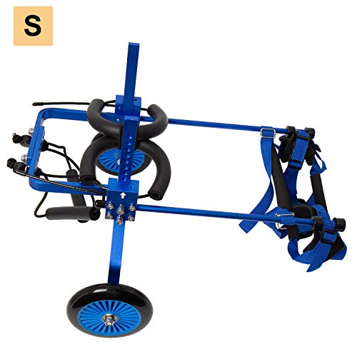 Homend Dog Wheelchair,Adjustable Dog Pet Wheelchair, Dog Cart,Wheels with Free Dog Leash,2 Sizes and 2 Colors for Choice (S:Height 11.8'-16.53',Hip 5.9'-9.8', Blue)