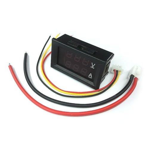 FidgetFidget LED Amp Dual Digital Voltmeter Ammeter Volt Meter Gauge OB1 DC 100V 10A Red Blue