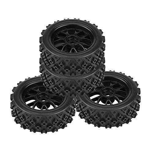 Drfeify Neumático de Coche RC 4 Piezas, 4pcs/Set Racing Off-Road Llantas de Vehículos Neumático de Caucho Llanta de la Rueda para RC 1:10 Pieza de Coche(Negro)