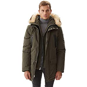 Men's Down Jacket Winter Warm Parka Coat Thicken Puffer Jacket with Fur Hood XS-3XL