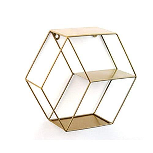 NFGHK Metall-Sechseck-Regale, Metall-Sechseck-Wandregal, Sechseck-Display-Lagerregale für Wohnzimmer, Schlafzimmer und Büro, 29x10x25,6 cm, Kupfer
