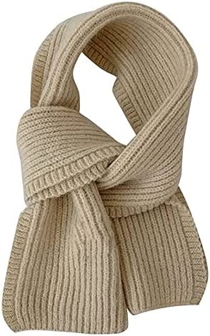 YSJJBTS Scarf Scarf Female Winter Solid Color Short Wool Knitting Student Autumn and Winter Japanese Soft Collar All-Match (Color : Beige, Size : One Size)