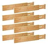 BMOSU 8 Pack Drawer Dividers Bamboo Separators Organizers Spring (17.52-21.65IN) Adjustable Wood Long Deep Divider For Drawer Expandable For Kithchen utensils Dresser Bedroom Bathroom Office(Natural)
