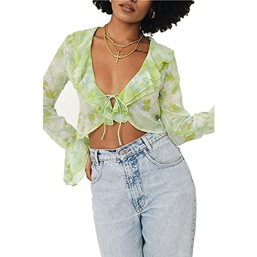 N /C Blusa de manga larga con volantes florales para mujer Y2k Mesh Crop Tops Verano Ver a través de Blusas