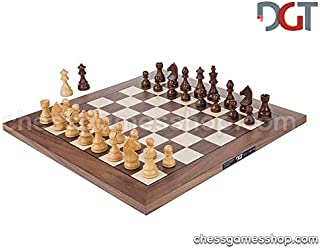 DGT Walnut Board Non-Electronic with Timeless Pieces - Tournament Chess Set