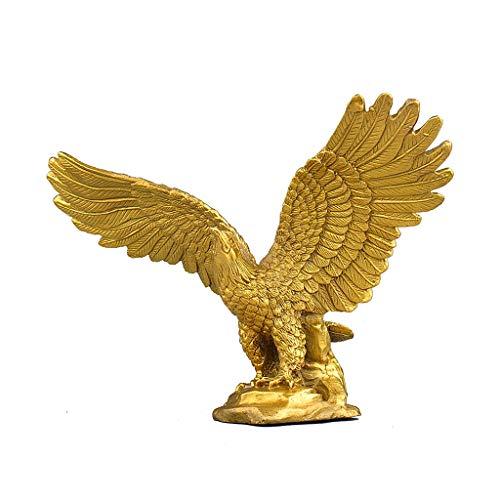1pcs Golden Copper Eagle Statue Ornaments, Hand Carved Eagle Animal Sculpture, Miniatures Figurines For Home Decoration