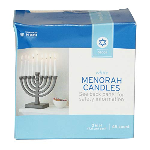 Happy Home Gifts White Menorah Candles 45 Count