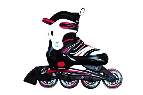 Muuwmi Verstellbarer Kinderinliner Inline-Skates, Schwarz/Weiß/Rot, 205 mm