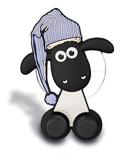 NICI 41483 Shaun das Schaf Zahnbürstenhalter mit Saugnapf, 5 x 7 x 2,5 cm, Farbe: Weiß/Schwarz/Blau
