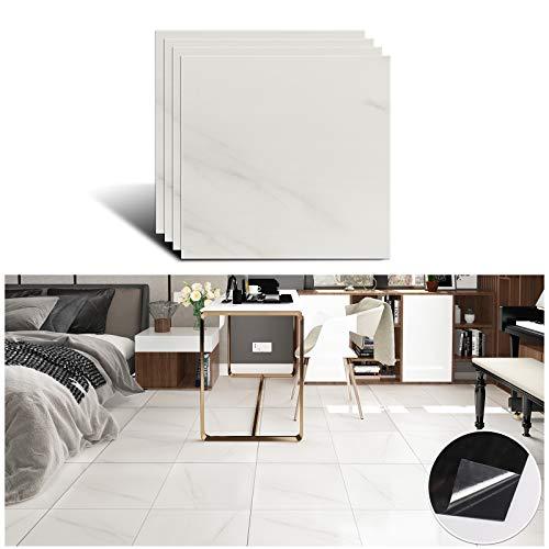 VEELIKE Graz Design - Adhesivo decorativo para azulejos, diseño de mármol, vinilo, no recto, color blanco, para baño, 30 cm x 30 cm, 4 unidades