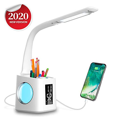Desk Lamps for Study LED Lamp with Pen Holder, Eye-Caring Table Lamp with Dimmable Touch Control,Girls Desk Light with Colorful Night Light,Office Lamp with USB Charging Port