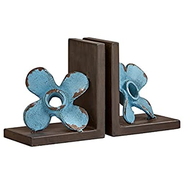 Stone & Beam Iron Windmill Bookends, 6.25  H, Blue, Black