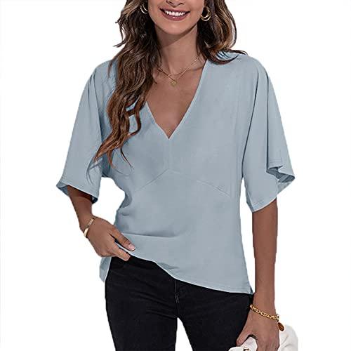 Camiseta De Gasa De Manga Corta Holgada Simple A La Moda con Cuello En V Sexy De Cobertura Informal De Primavera Y Verano para Mujer
