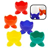 Silicone Egg Cup Holders- Set of 5 Rainbow Serving Cups -Dishwasher Safe