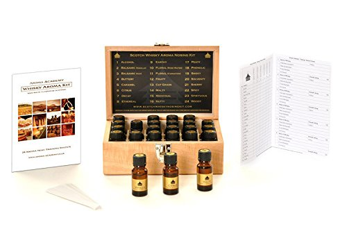 Aroma Academy - Whisky Aroma Kit - 24 Aroma Nose Training System in Decorative Wooden Box