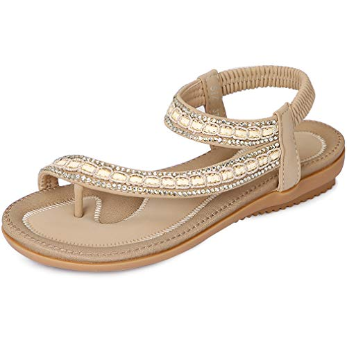 CARETOO Sandalias Planas Verano Mujer Estilo Bohemia Moda Cómodos Zapatos Chanclas
