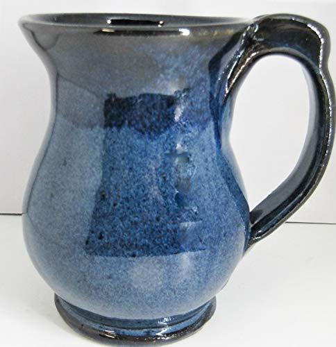 Blue mug with thumb rest handmade